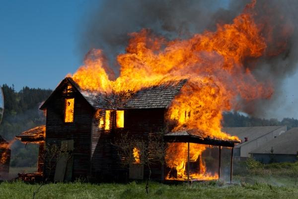 Burning Engfer House