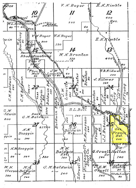Section of county map showing the George France property - Courtesy of Patti Morris Craze