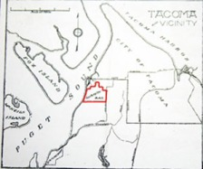 "Map showing what I believe to be the  original ""University Place,"" that purchased by Puget Sound University in the early 1890's"